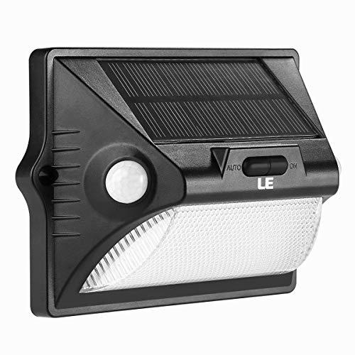LE Solarlampe für Außen mit Bewegungsmelder, RGB Farbwechsel LED Solarleuchte Garten, IP65 Wasserdicht Mehrfarbig Sicherheitswandleuchte