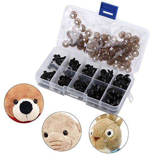 Foto de 100pcs Ojos de Plástico de Muñecas Ojos con Arandelas para Fabricación de Muñecas Negro Claro 6-12mm