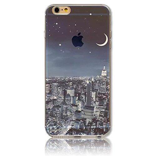 Custodia iPhone 7,Gray Plaid Design [Anti-scratch] 3D Matte Colorful Printing Pattern Soft TPU Gel Silicon Protective Cover Per iPhone 7 (4.7 inch) - iceberg vista notturna