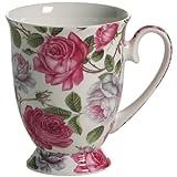 Maxwell & Williams S569462 Royal Old England Becher auf Fuß, Kaffeebecher, Tasse, Motiv: Teerose, in Geschenkbox, Porzellan