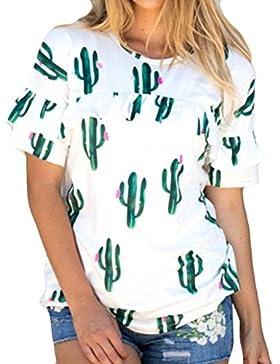 JYC Camiseta Manga Larga,Modern Western Blusa Para Mujer,Blusa Elegante Y Casual Para Discoteca, Mujer Moda Cactus...