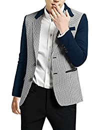 Sourcingmap Allegra K Men Notched Lapel Houndstooth Blazer