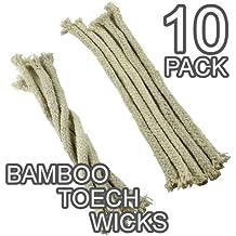 Mechas de algodón de repuesto para faroles, lámparas y antorchas de bambú, pack de 10