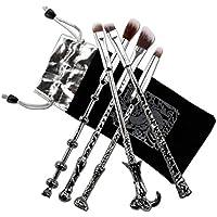 Pinceles Maquillaje,Chacca Kit Pinceles de Maquillaje 5 piezas, forma de Varita Mágica Look de Fantasía con Cerdas finas, Negro Plateado