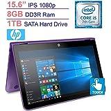 HP Pavilion 15.6'' X360 2-in-1 Convertible Full HD IPS Touchscreen Laptop | Intel I5-7200U | 8GB RAM | 1TB HDD | HDMI | Backlit Keyboard | B&O Play | Bluetooth | Windows 10 (Purple)