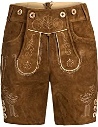 Gaudi-Leathers, Damen Trachten Lederhose Shorts kurz mit Träger in verschiedenen Farben