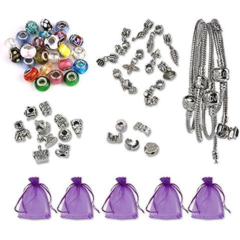 Luxbon Conjunto de Abalorios para Hacer Pulsera DIY Regalo Navidad Incluye 25 Charms Cristal de Murano, 5 pulseras, 10 encantos tibetanos, 10 colgantes, 5 clips, 5 bolsas de