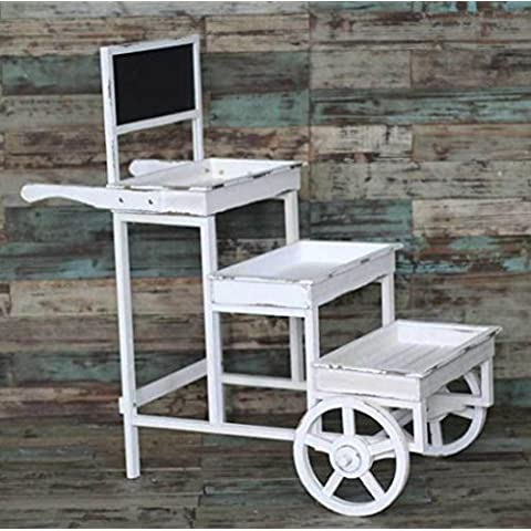 New day-Home Decor prodotti giardino mensola in legno balcone fiore, carrelli a tre ruote e creativo 100 * 51 * 104CM , white , 100*51*104cm