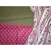 Stoffpaket für Dirndlkleid + Schürze grün/pink
