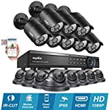 SANNCE 1080P HD 16CH DVR Video Security System - 16×2.1 MP Weatherproof & Vandalproof IP66 Bullet & Dome CCTV Cameras, Day Night Vision, Quick QR