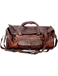 "100% Genuine 28"" Large Leather HUGE Travel Bag Large Duffel Bag Gym Sports Flight Cabin Bag Leather Holdall Overnight..."