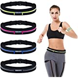 Anreson Running Belt Fanny Pack Waist Pack Waterproof Sweatproof With 2 Expandable Pockets For Phone IPhone Samsung Huawei With 1 Reflective Arm Band Presented For Workout Sports Black
