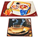 SLN 6 Reversible Plastic Placement Mats And 6 Reversible Coasters Set - Multi-Colored Designed Dinning Table Mats (Multi-Color C)