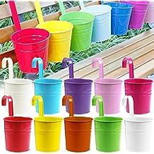 10pcs flor potes 10 colorea el hierro del metal que florece el colgante de la planta del jardín del balcón que planta la decoración casera