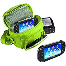 Orzly® - SPIELE & KONSOLEN (REISE-) TASCHE für die Sony PSP Konsolen (GO / VITA /1000/2000/3000) mit speziellen Fächern für die Aufbewahrung von Spielen und Zubehör. Tasche enthält Schultergurt, Tragegriff und eine Gürtelschlaufe – Grün