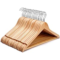KEPLIN Pack of 20 High Quality Strong Premium Wooden Coat Hangers with Round Trouser Bar and Shoulder Notches