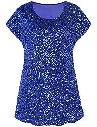 PrettyGuide Damen Funkeln Shirt Glitter Pailletten Dolman Loose Tunika  Bluse Top 8be5110502