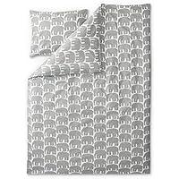 FINLAYSON ® Elefantti Juego de funda nórdica y funda de almohada, algodón, gris, 150x 210cm
