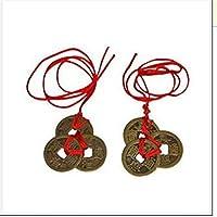 sungpunet chino Feng Shui monedas rojo Enless nudo para riqueza y éxito–2juegos de 3
