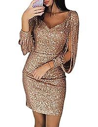 36b86aa1721c1 skgardeniamy Abendkleider Damen Sexy V-Ausschnitt Bodycon Maxikleider  Kleider Elegant Glänzend Langarm Cocktailkleid Partykleider