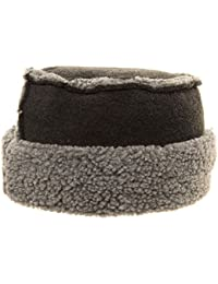 CHARCOAL GREY SHEEPSKIN EFFECT FLAT TOP PILLBOX HAT FLEECE TRIM & LINING
