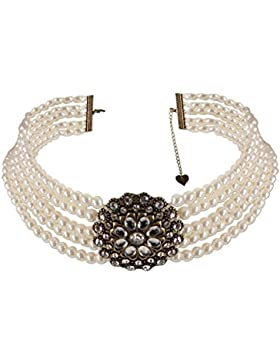 Alpenflüstern Trachten-Collier Perlenblüte - Trachtenkette Perlen Damen-Trachtenschmuck Dirndlkette in schwarz...