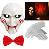 Adult Unisex Halloween Billy The Puppet Saw Terror Theme PVC Mask White Gloves & Red Bow Tie Crazy Killer Demon Chainsaw Massacre Cosplay Costume Accessories (Mega_Jumble) by Mega_Jumble