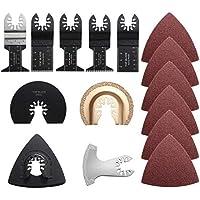 Cuchilla de Corte Afilada Hojas de sierra multiherramientas oscilantes de 9 piezas con papel de lija de 32 piezas Hoja de Sierra