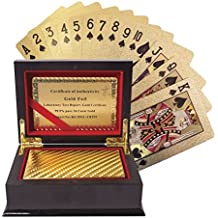 Invero® Certificated 24K Pure Gold Plated Playing Cards Full Poker Deck - Complete with Presentation Box and Certificate of Authentication