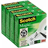 Scotch Magic - Cinta invisible en caja individual (4 cajas), 19 mm x 33 m