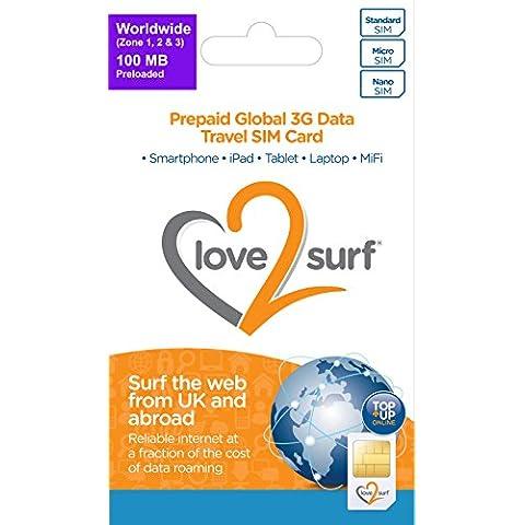 Tarjeta Triple SIM Internacional de Datos 3G SIM para Viajes •• WORLDWIDE (Zone 1, 2 & 3) •• 34 EU Countries, ASIA, USA, CARIBBEAN, AFRICA & MIDDLE EAST - (WORLDWIDE 100MB