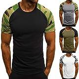 Herren T-Shirt Camouflage Kurzarmshirt Top Print Shirt mit Rundhalsausschnitt - Sport & Freizeit
