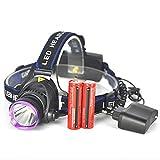 Malloom 3000 Lm XM-L T6 LED Lámpara de cabeza Faro Antorcha de la linterna 2x18650 + Cargador de CA de la UE