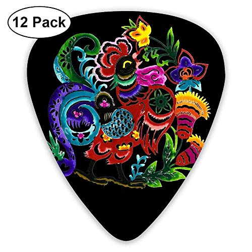 Chinese Paper Cutting Rooster 351 Shape Classic Picks 12 Pack For Electric Guitar Acoustic Mandolin Bass Set Classic Rooster