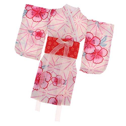 MagiDeal Mode Puppe Kleidung Kimono Blume Gedruckt Langes Mantel Für 1/6 Bjd Puppe Zubehör - Rot