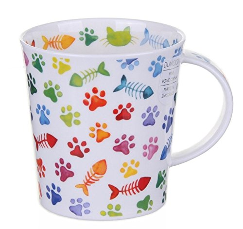 Dunoon Bone China Lomond Mug - Pawprints Range - Colourful Cat Paws Bone China Fine China Mug