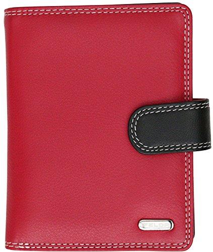 Felda - Damen Geldbörse - 9 Kartenfächer & Münzfach mit Reißverschluss - RFID-Blocker - aus Echtleder - Mittlere Größe - Rot Mehrfarbig -