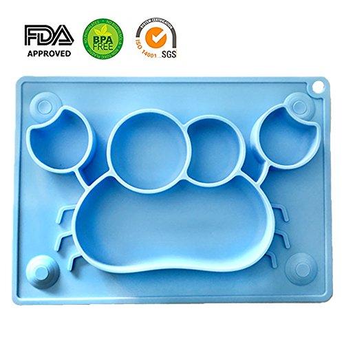 Teller für Baby, BPA-Freies Silikon Baby Tischset mit Saugnapf Rutschfest FDA Zugelassenes die Meisten Esstische und Hochstuhl Tabletts (Blaue Krabbe)