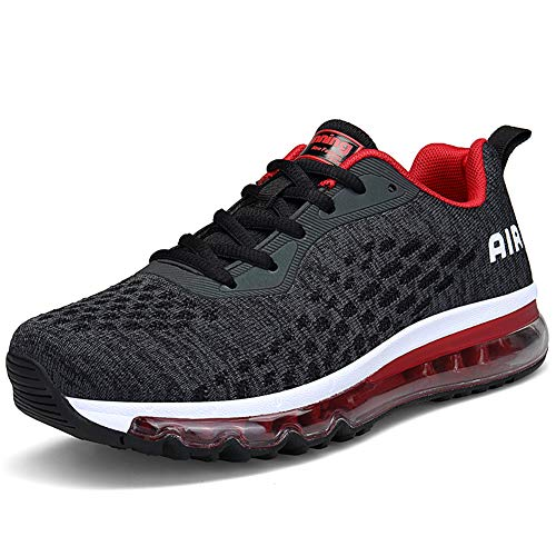 Unisex Herren Damen Sportschuhe Laufschuhe Bequeme Air Laufschuhe Schnürer Running Shoes BLACKRED40