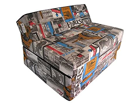 Fold Out Guest Chair Z Bed Futon Sofa for Adult and Kids folding mattress (PARIS, 50% cotton/50%