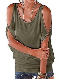 Landove Camisetas Sin Tirantes Mujer Básica Tops Manga Corta T Shirt Verano Elegante Moda Blusa Casual Pullover Tunica Lisos