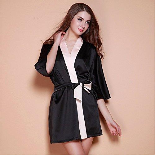 Smx Sexy Set Schlafanzüge / aus Satin /Pyjama Kleid/Spitze Nachtwäsche/Verstellbar Träger Negligee /Seide SchlafanzugPajamas female silk dressing gown, black ,M (Dressing Silk Gown)