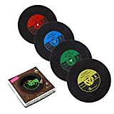 PBELE 6 x Retro CD enregistrement vinyle Tapis Dessous-de-verre Coffee Tasse Chic Table Silicone UK stock