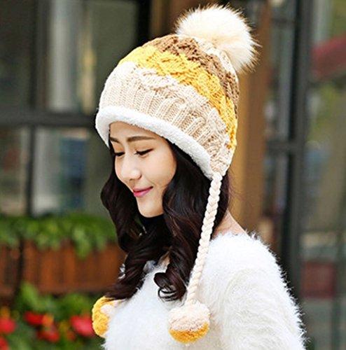 Chapeau d'hiver Femmes Étudiant Coréen Gardez Chapeau Chapeau Chaud Automne Et Hiver Version Coréenne Plus Capuchon D'Epaississement D'ongle De Velours ( couleur : 1# ) 5#