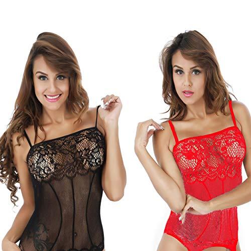 LOVELYBOBO 2-Pack Damen Unterwäschen Reizwäsche Netz Strumpfhose Bodystockings Jumpsuit Frauen Bodysuit Nachtwäsche Dessous (schwarz+rot)