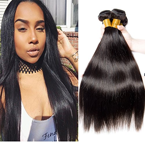 vipbeauty pelo brasileño Virgin Remy Cabello liso 3Bundles 100% en estado natural paquetes de tejido de cabello humano Extensiones de cabello humano 3Bundles Deal negro Natural (101214)