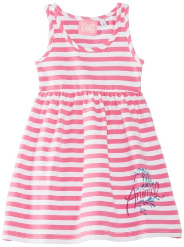 Animal Girl's Layna Striped Dress, Carnation Pink, 5/6 Years