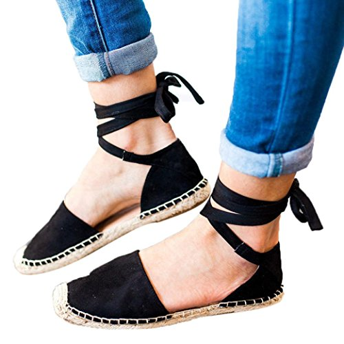 OYSOHE Damen Flat Lace Up Espadrilles Sommer Chunky Urlaub Sandalen Schuhe Strap Schuhe Sandalen Stroh Leinen Riemen Schuhe (Lack-espadrilles Schwarze)