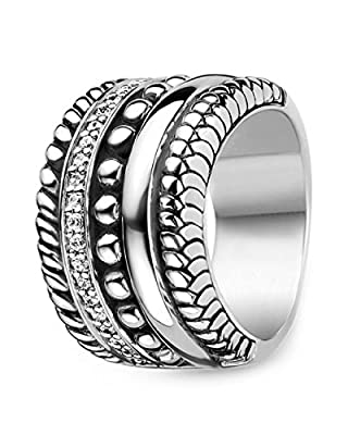 Ti Sento Rhodium Plated Sterling Silver Ring with Cubic Zirconia Stones-1835ZI