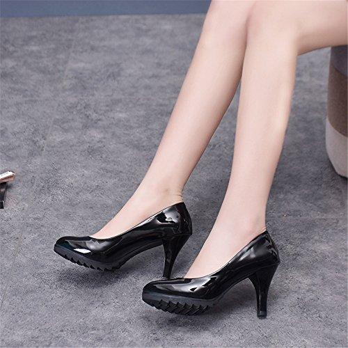 TMKOO 2017 nouvelles chaussures à talons hauts tête ronde épais avec de grands chantiers Mme seule chaussures carrière confortable talons hauts Noir